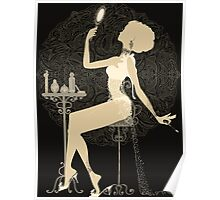 Gold chic elegant black vintage beautiful lady Poster