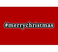 Merry Christmas - Hashtag - Black & White Photographic Print