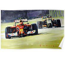 2014 Singapore GP Raikkonen Scuderia Ferrari F14 T Perez Sahara Force India F1 Poster