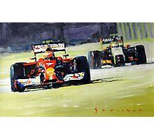 2014 Singapore GP Raikkonen Scuderia Ferrari F14 T Perez Sahara Force India F1 Photographic Print