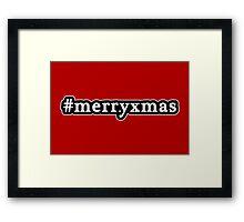 Merry Xmas - Christmas - Hashtag - Black & White Framed Print