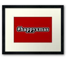 Happy Xmas - Christmas - Hashtag - Black & White Framed Print