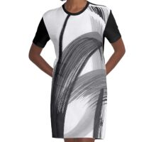Abstract Drawing black white colours Graphic T-Shirt Dress