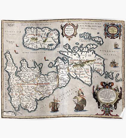 Map of The British Isles - Ortelius - 1595 Poster
