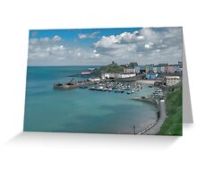Tenby Harbour Ink Painting Greeting Card