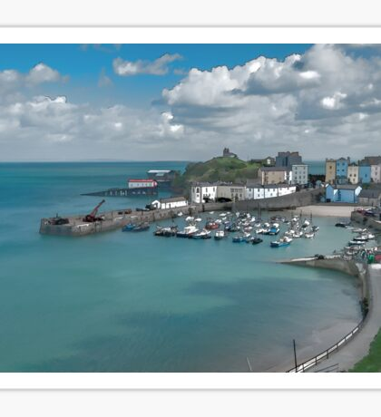 Tenby Harbour Ink Painting Sticker