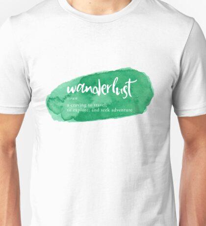 Wanderlust Definition - Green Watercolor Unisex T-Shirt