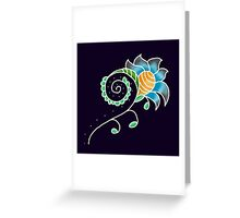 Indigo Honeycomb Flower | Floral Honey Abstract Print Greeting Card
