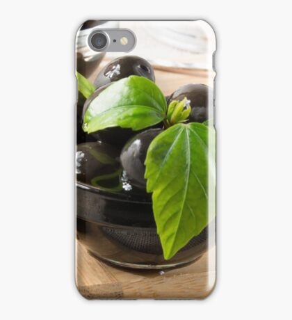 Black olives on a table and glass cups with oil  iPhone Case/Skin