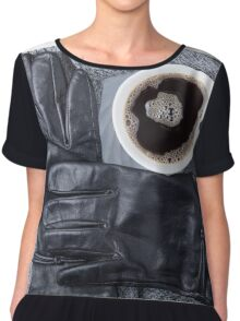 Top view of a white cup of coffee and black women's gloves Chiffon Top