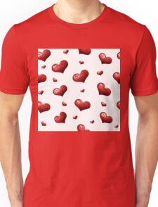 Valentine's Day Seamless Pattern with Hearts.  Unisex T-Shirt