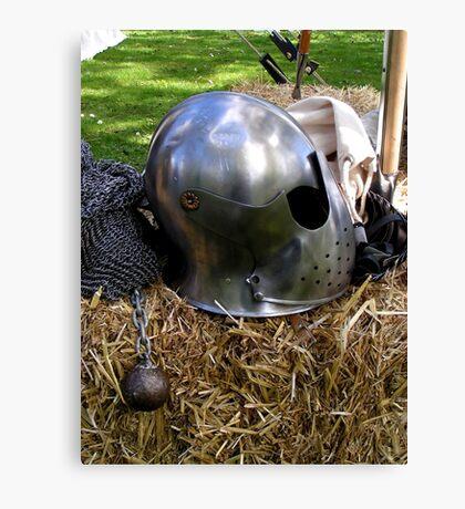 Medieval dented helmet Canvas Print