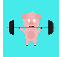 Fitness Pig with Weights Photographic Print