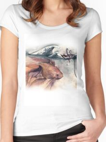 Navigating The Ocean - Boy, Goldfish & Up-turned Umbrella Women's Fitted Scoop T-Shirt