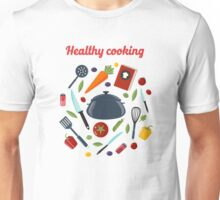 Kitchen Healthy Cooking Concept with Different Vegetables and Cutlery.  Unisex T-Shirt