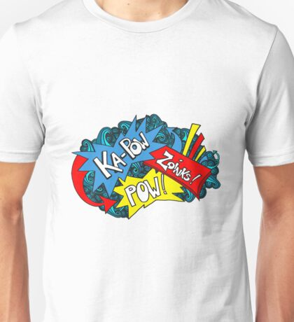 Kapow! Comic Book Word Art - Red, Blue, Yellow Unisex T-Shirt