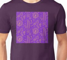 London Seamless Pattern with London Eye, Phone Box and Travel Elements.  Unisex T-Shirt