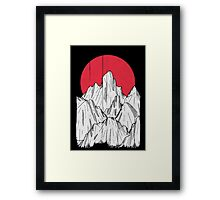 The red sun and the mountain Framed Print