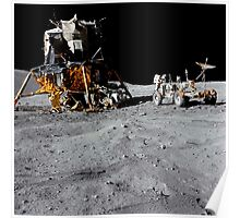 The Lunar Module and Lunar Roving Vehicle during an Apollo 16 moonwalk. Poster
