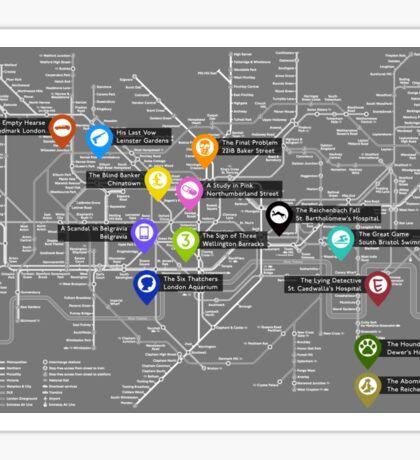 Sherlock Tube Map (Dark) Sticker