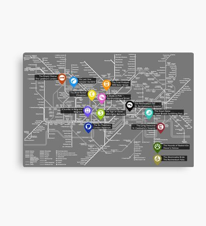 Sherlock Tube Map (Dark) Canvas Print