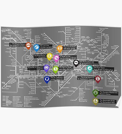 Sherlock Tube Map (Dark) Poster