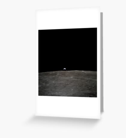 Earth rises over the lunar horizon. Greeting Card