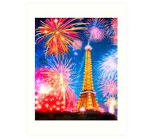 Enchantment in Paris - Fireworks Over The Eiffel Tower Art Print