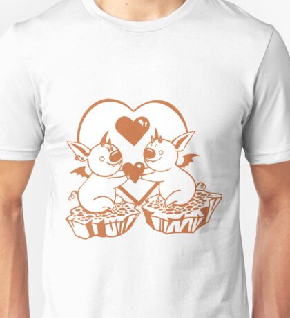 Valentine Bats with Heart Unisex T-Shirt