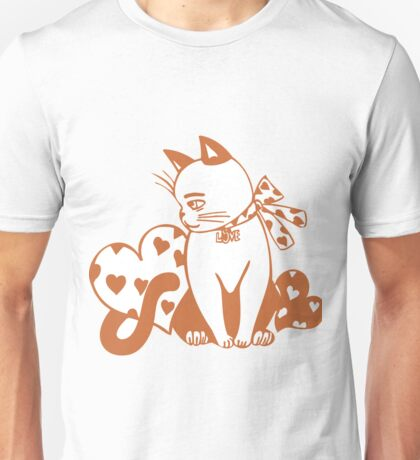 Valentine Cat with Hearts Unisex T-Shirt