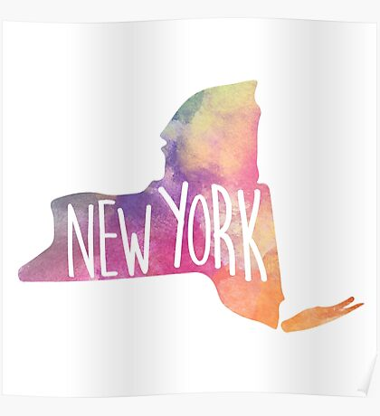 New York State Water Color Poster