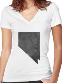 Nevada Map State Watercolor Painting Poster Abstract Landscape Art Black White Grey Print USA United States Modern Women's Fitted V-Neck T-Shirt