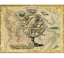 Vintage nautical compass and map illustration Photographic Print