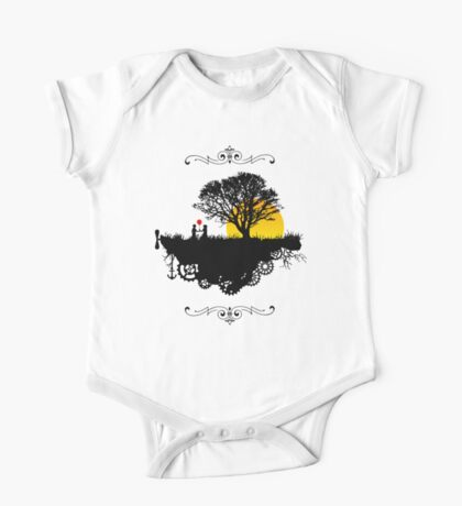 Romantic Sunset And A Silhouette Couple On A Floating Steampunk Island  One Piece - Short Sleeve