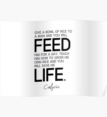 feed a day, a life - confucius Poster