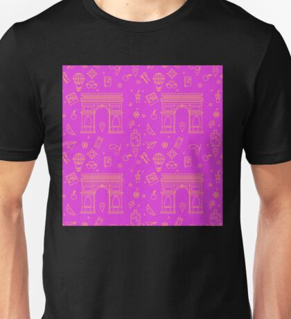 Paris Seamless Pattern with Arc de Triomphe and Travel Elements Unisex T-Shirt