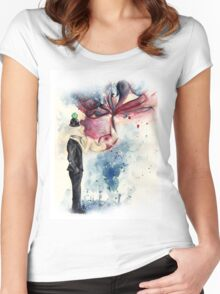 Magritte, Son of Man, Apple & Mermaid Women's Fitted Scoop T-Shirt