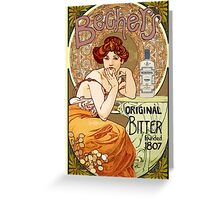 Vintage art nouveau poster with woman and liquor Greeting Card