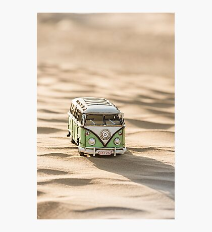 Hippie Van (toy) in an ocean of dunes, standing in the Desert Photographic Print