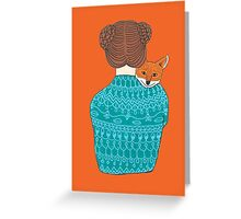 Lady and the fox Greeting Card