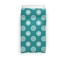 Teal color Flowers & spiral, all-sizes, Top Duvet Cover