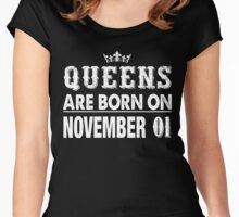 Queens Are Born On November 01 Women's Fitted Scoop T-Shirt