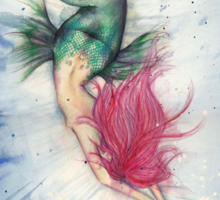Voluptuous Mermaid Diving into Water Sticker