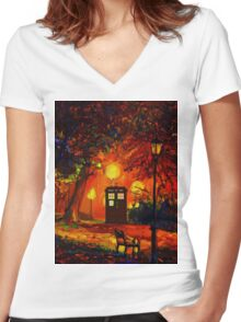 tardis starry night beauty full  Women's Fitted V-Neck T-Shirt