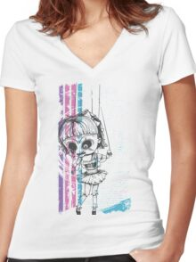 Scary Doll Women's Fitted V-Neck T-Shirt