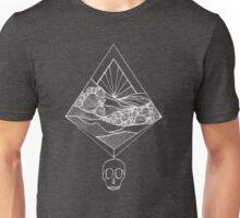 Geometric Sunset Skull (white) Unisex T-Shirt