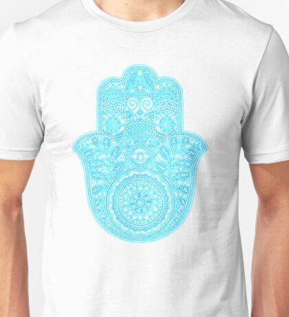 Neon Hamsa Hand - blues Unisex T-Shirt