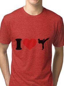 I Love Karate Funny Taekwondo Shirts Tri-blend T-Shirt
