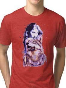 Wolf and Girl Watercolor v2 Tri-blend T-Shirt