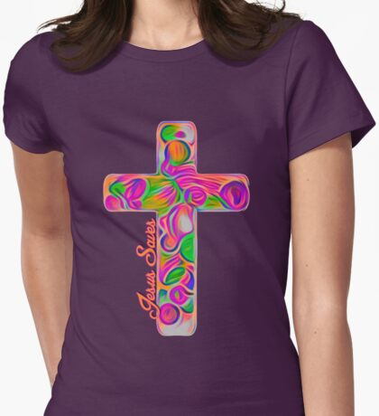 Jesus Saves Artistic Cross Art Womens Fitted T-Shirt